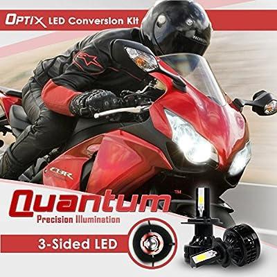 Optix Motorcycle LED Headlight Conversion Kit - 80 Watt 8,000 Lm - 6000K 6K Cool White - Low Beam / High Beam / Fog Light Bulbs