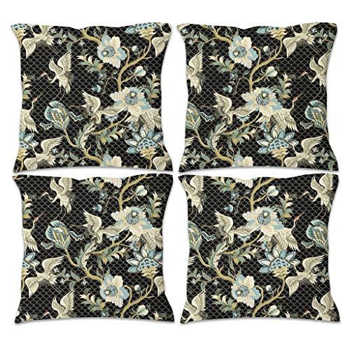 Rinvyintte Pattern Vogel gezellig meerdere patronen vierdelige kussensloop kussensloop met verborgen ritssluiting voor kamer gevarieerde stijl plantenpatroon