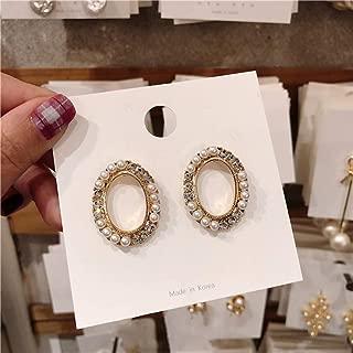 Pendientes de aleación Elegante brillante Cubic Zircon Circle Stud Pendientes para mujeres Cuentas de perlas redondas Micro Pave