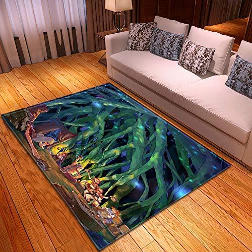 HJKGSX Alfombra De Salón Plantas Verdes Alfombra Pelo Corto Antideslizante Dormitorio Cuarto de los niños Fácil de Manejar 140 x 200 cm