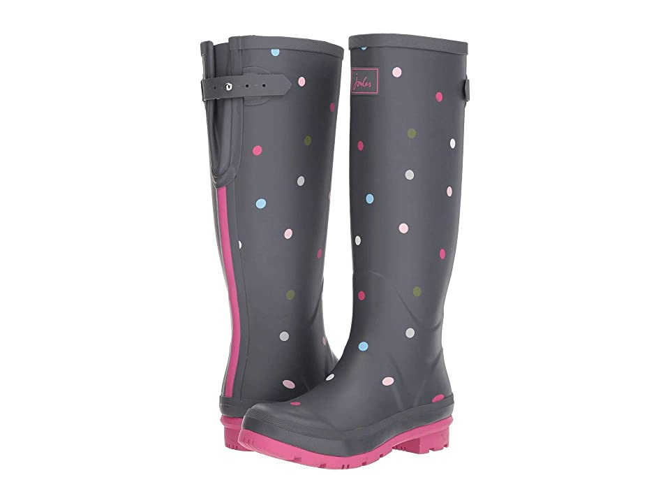 Joules Tall Welly Print (Grey Multi Spot) Women