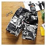 Ddcjc Hombres Impresos Pantalones Cortos de algodón Pantalones Cortos para Hombre Cordones Cordones Cortos de Cintura Cool (Color : Black, Size : 4XL.)