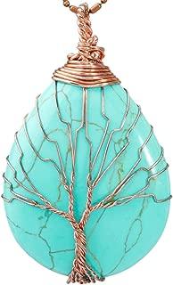 SUNYIK Teardrop Stone Tree of Life Pendant Necklace, Handmade Copper Wire Wrapped Jewelry, Healing Chakra