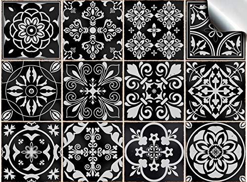 Tile Style Decals 24 stück Fliesenaufkleber für Bad und Küche (T1 - Black) | Mosaik Wandfliese Aufkleber für 15x15cm Fliesen | Deko Fliesenfolie für Bad u. Küche