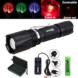 VASTFIRE Zoomable Green/Red/UV Hunting Flashlight Deer...