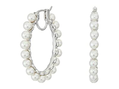 Majorica 4 mm Karma Round Pearls Hoop Earrings (White) Earring