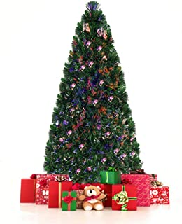 6 Ft Artificial Christmas Tree Fiber Optic PVC Holiday Ornament Easy Assemble
