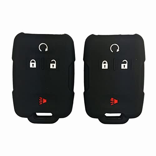 Coolbestda 2Pcs Rubber Smart Key Fob Remote Cover Case Protector Wallet Keyless Jacket for Chevrolet Silverado