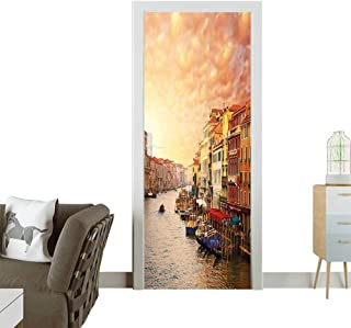 Door Sticker Wall Decals Venezia Italian Landscape with Old Houses Gondollas and Spikes Image Easy to Peel and StickW17.1 x H78.7 INCH