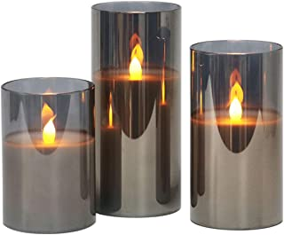 Gray Glass Battery Operated Flameless Led Candles with 6H Timer, Warm White ing Light, Batteries Included - Set of 3
