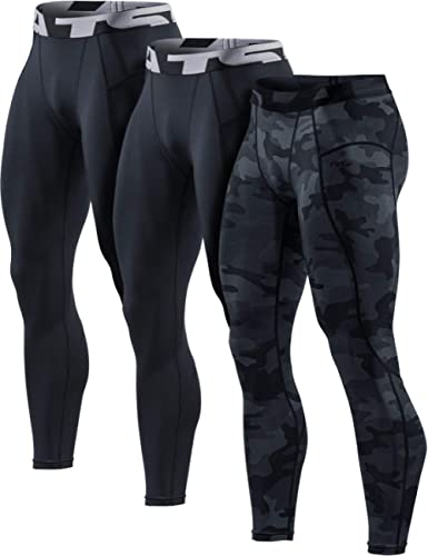 TSLA 1, 2 or 3 Pack Men's Compression Pants, Cool Dry Athletic Workout Running Tights Leggings with Pocket/Non-Pocket
