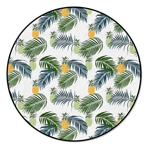 YWJFASHION Retro Color Luxury Tapis 3D Tapis Ananas Palm Palmage Feuilles Tropical Plantes Tapis Ronds for Salon Tapis de Maison (Size : Diameter 150cm)