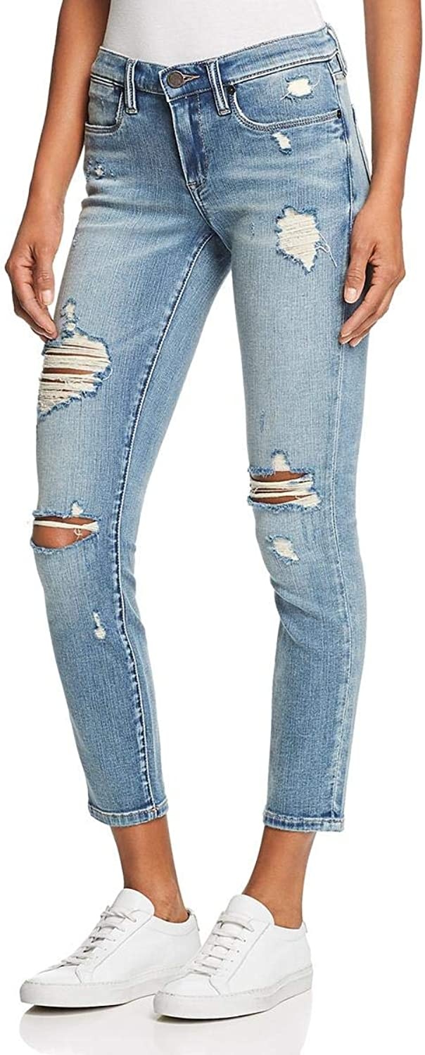 Blank NYC Womens Reade Distressed MidRise Skinny Crop Jeans bluee 25