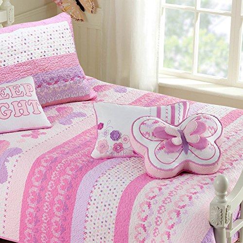 Cozy Line Home Fashions Parure de lit 3 pièces 100 % coton Motif papillons Rose