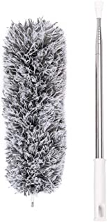 Plumero de microfibra con poste de acero inoxidable extensible (110 pulgadas) y cabezal plegable lavable - Ideal para limpiar techos altos / Ventilador de techo / Telaraña