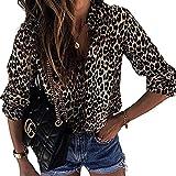 Elesoon Blusa suelta de manga larga con estampado de lunares de leopardo y talla grande con cuello abotonado, A-Beige, 38