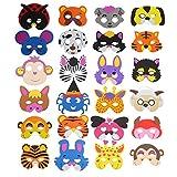 CCINE - Maschere in spugna assortite (16 modelli), a forma di animali, per feste, confezione da 24 Assorted 24pcs