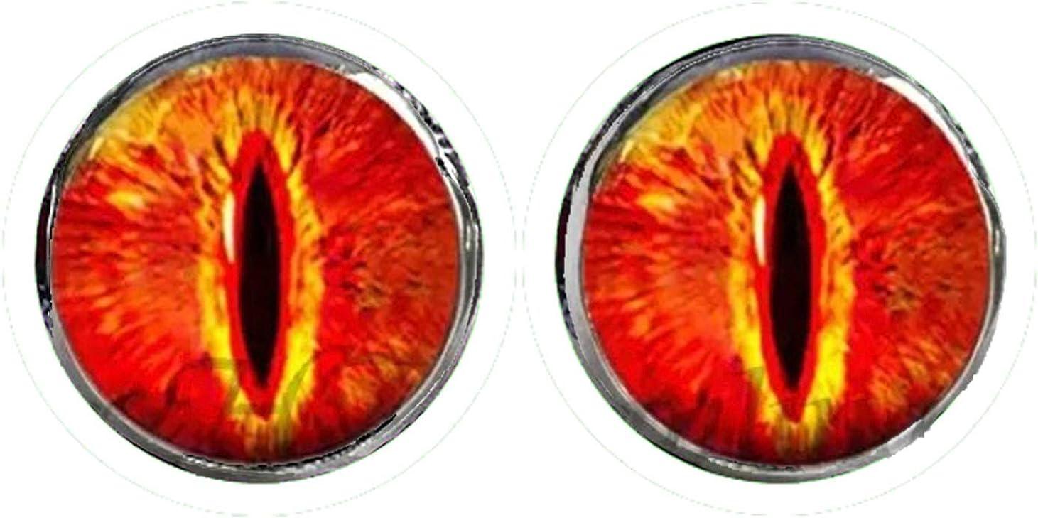 HYPOALLERGENIC Dragon Eye Earrings for Men Girls Earings Womens Scale Glitter 3D Button Shape Unisex Fire Red