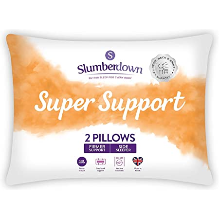 Slumberdown Super Support White Pillows Pack of 2 Firm Support Bed Pillows Designed for Back and Side Sleepers