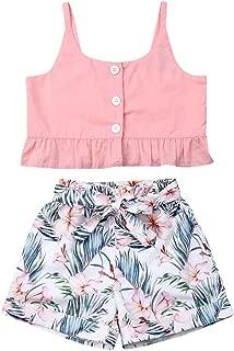 Merqwadd Toddler Girls Summer Short Set Halter Ruffle Top+Tassel Pineapple Pants Summer Clothes Outfit