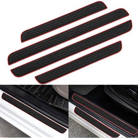 Black Garneck 4pcs Bumper Guard Sticker Car Door Sill Scuff Guard Carbon Fiber Car Door Sill Sticker Panel Protector Door Entry Guards Scratch Cover