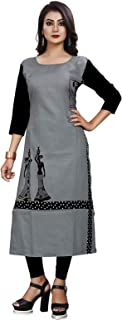 1 Stop Fashion Women's Grey Coloured Digital Print Crepe Knee Long Kurta/Kurti