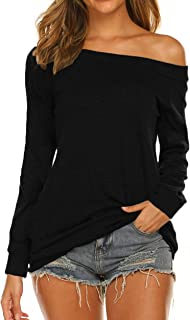 Women's Long Sleeve Boat Neck Off Shoulder Blouse Tops