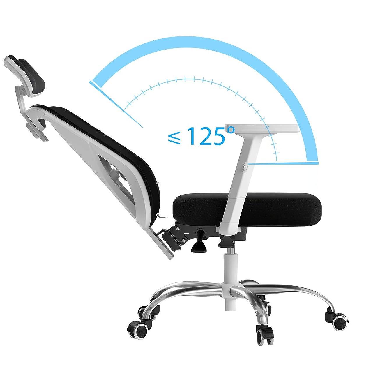 観察する電子レンジキャプテンブライHbada 椅子 オフィスチェア デスクチェア ハイバック S字カーブ 約160度リクライニング 腰サポート メッシュ 昇降アームレスト 可動式ヘッドレスト 通気性 360度回転 鋼製ベース 「一年無償部品交換保証」