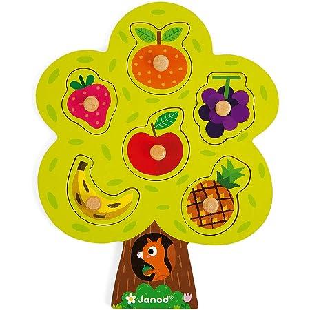 Janod - Puzzle Arbre Gourmand - 6 Pièces + 1 Plateau - Jouet d'Éveil en Bois - Jeu Éducatif, Développer la Mémoire - Dès 18 Mois, J07061