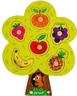 Janod - Puzzle à Encastrement en Bois Arbre Gourmand - 6 Pièces à Tenons - Jouet d'Eveil - dès 18 Mois, J07061