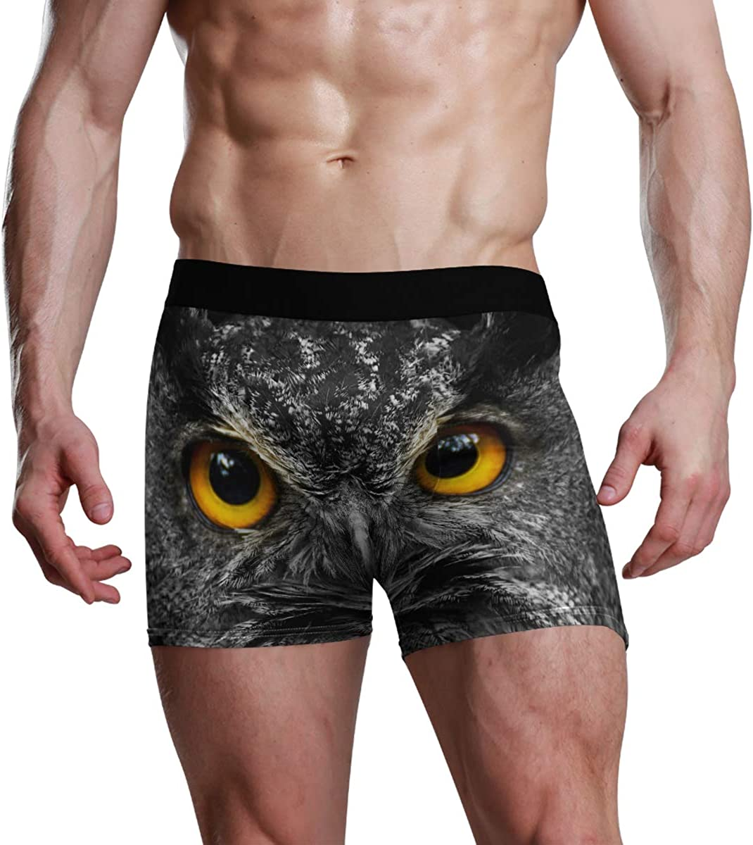 Men's Underwear Black and White Portrait Owl with Big Yellow Eyes Breathable Boxer Briefs Low Rise Long Leg