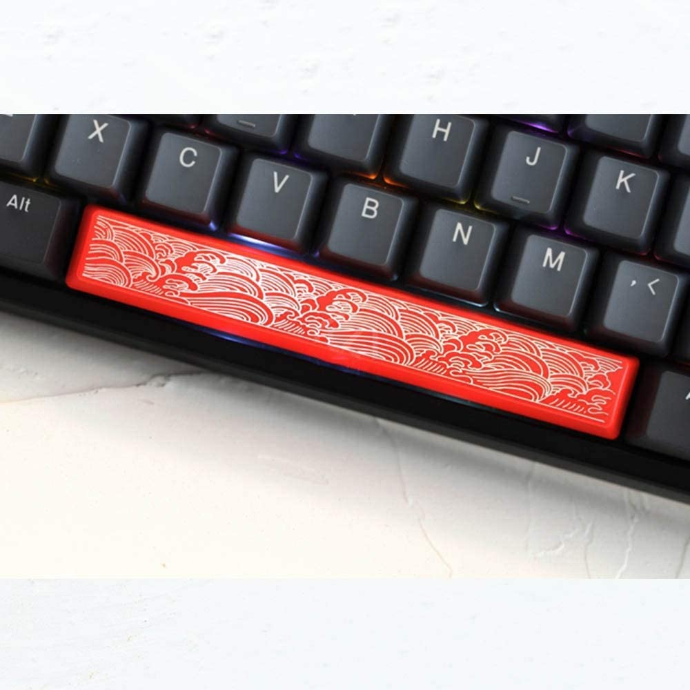 Color : Wave Keyboard keycaps 6.25U Spacebar Keycaps for Switch Mechanical Keyboard ABS Red White