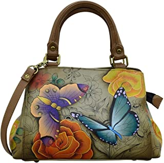 Women's Genuine Leather Small Multicompartment Satchel Shoulder Bag| Hand Painted Original Artwork