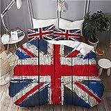 ALLMILL Funda Nórdica De Microfibra,Bandera de Reino Unido Union Jack Grunged,Juego De Ropa De Cama De 3 Piezas (1 Funda De Edredón 200 x 200cm + 2 Fundas De Almohada 50 * 80cm)