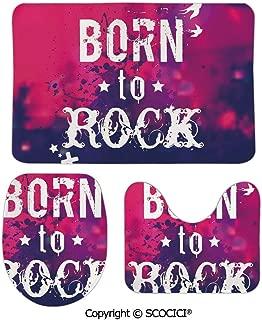 SCOCICI Three-Piece Toilet Seat Pad Custom Blurred Splashy Rock Concert Stage and Crowd Grunge Artistic Phrase Prin Fashion Bathroom Rug Mats Set Bath Mat + Contour + Toilet Lid Cover