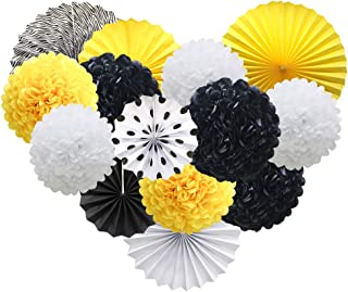 Best black white and yellow party decorations Reviews