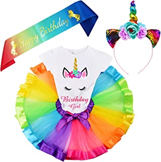 LYLKD Little Girls Unicorn Outfit Dress,Layered Rainbow Tutu Skirt,Unicorn T-Shirt and Unicorn Horn Headband.