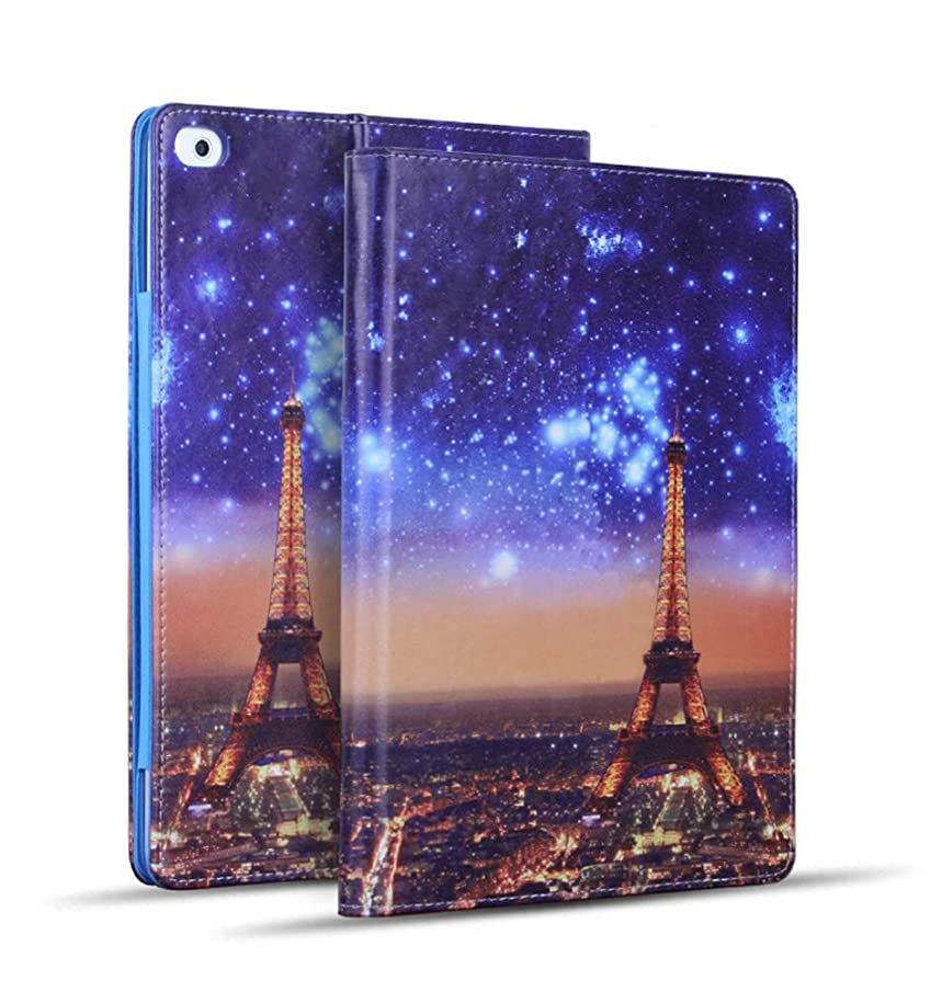 iPad 9.7 inch 2018/2017 Case,iPad Air Case,iPad Air 2 Case, PU Leather Magnetic Stand Smart Cover with Auto Sleep Wake Case for Apple iPad 6th / 5th Gen,iPad Air 1 2, Paris Night View Eiffel Tower