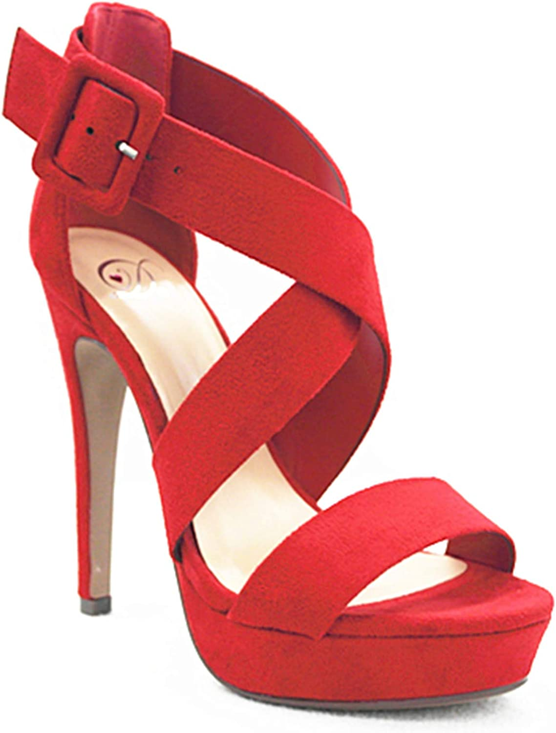 MVE shoes Women's Open Toe Strappy High Heel Sandals, Summer RED SU 6