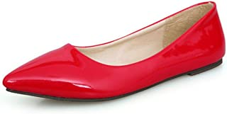 Bella Marie Angie 51-s Patent Vegan Leather Pointed Toe Ballet Flats (10, Red Patent Vegan)
