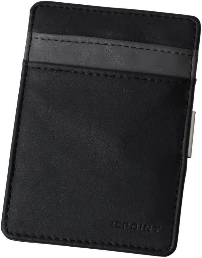 Epoint ECM06A03 Grey Black Solid Money Clip Easter Sunday Leather ID/Name Card Case