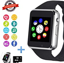 Smart Watch Phone, Smartwatch with Camera Pedometer Call Text SNS Sync SIM Card Slot TF Card Music Player Alarm Compatible with Android and iPhone (Partial Functions) for Men Women Teens Kids
