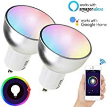 Funiee WiFi Smart Light Bulb, RGB LED Color Changing Dimmable, E27 GU10 GU5.3 Compatible with Alexa and Google Assistant 2 Pack,GU5.3