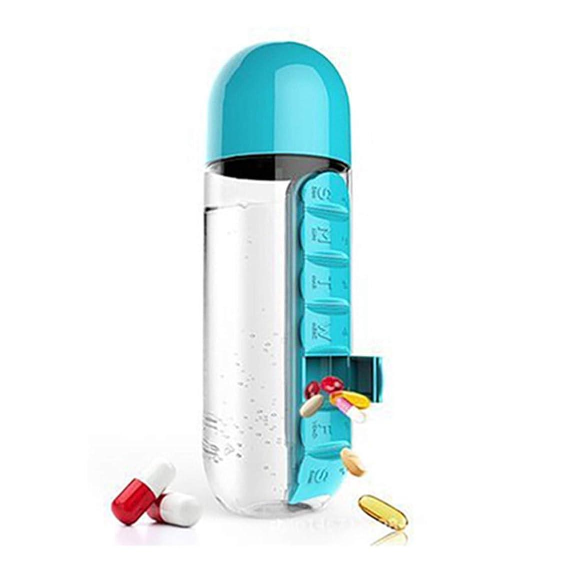 キルスシエスタ女の子2 1ピル場合、携帯ピルボックス、7コンパートメント医学ボックス、医学コンテナ飲料ボトルタブレットトーチカウォーターボトル Blue