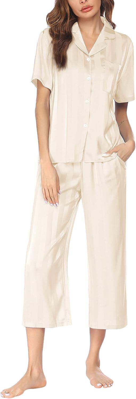 Ekouaer Women Silk Satin Pajamas Button Down Lounge Sets Short Sleeve Sleepwear