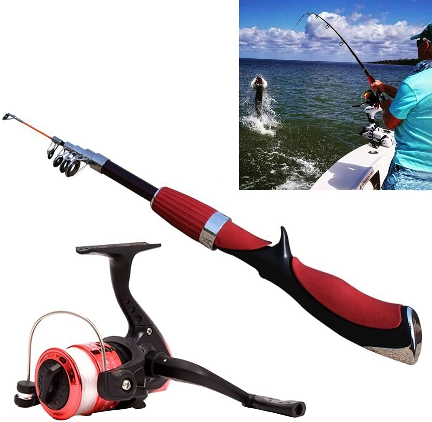 Rods Portable Fishing Rod with 1.4m Curved Shank and 6 Sections with Fishing Reel, Minimum Length  35cm Rods