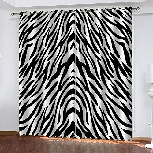 CHNXXL Cortinas Opacas Termicas Aislantes con Ojales 3D Digital Impresión Patrón De Cebra Poliésteren Forma Salón Dormitorio Cuarto De Los Niños 150(W) X166(H)(Cm)