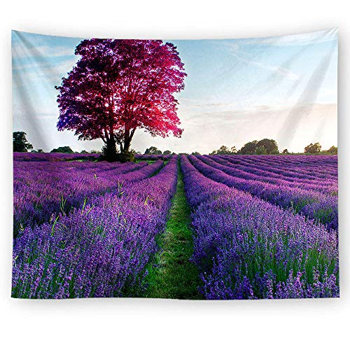 ZYLSZBD Tapestry Sea Wall Landscape Wall Hanging Decoration for Dorm Bedroom Living RoomLavender decorative fabric printing-Picture 4_150X130cm