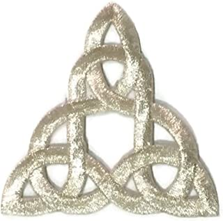 Patch Portal Silver Celtic Knot 3 Inch Irish Tattoo Pattern DIY Embroidered Applique Trinity Stencil Triquetra Gothic Sew Iron On Patches for Jackets Hats Cloth
