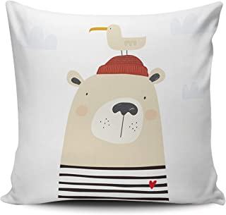 AIHUAW Home Decorative Cushion Covers Throw Pillow Case Cartoon Bear Sailor Love Sea Pillowcases Square 22x22 Inches Double Sided Printed (Set of 1)